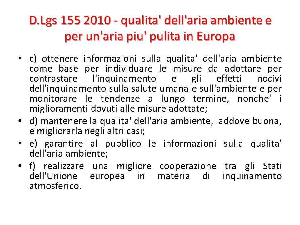 D.Lgs 155 2010 - qualita dell aria ambiente e per un aria piu pulita in Europa