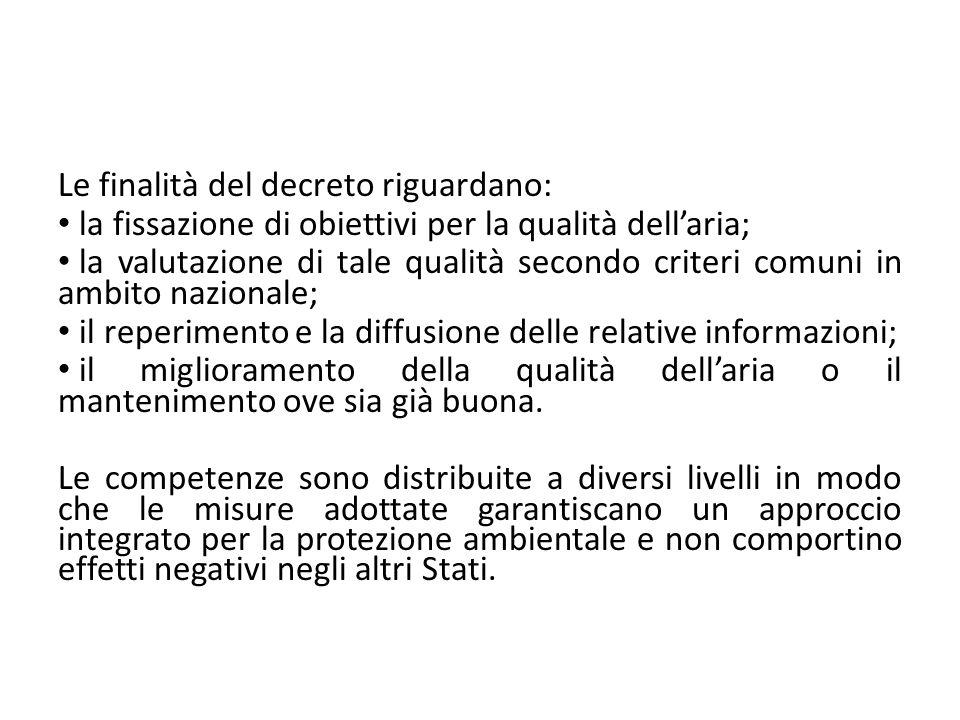 Le finalità del decreto riguardano: