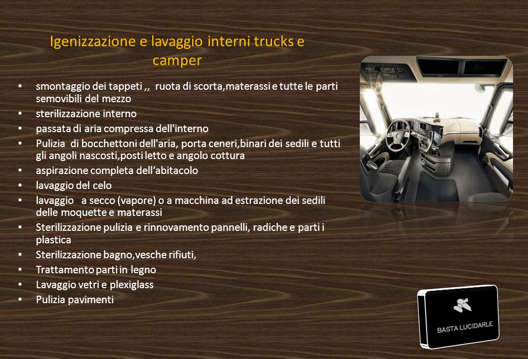 Igenizzazione e lavaggio interni trucks e camper