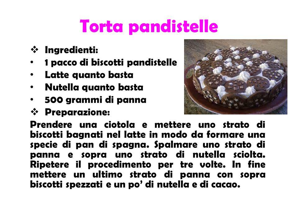 Torta pandistelle Ingredienti: 1 pacco di biscotti pandistelle