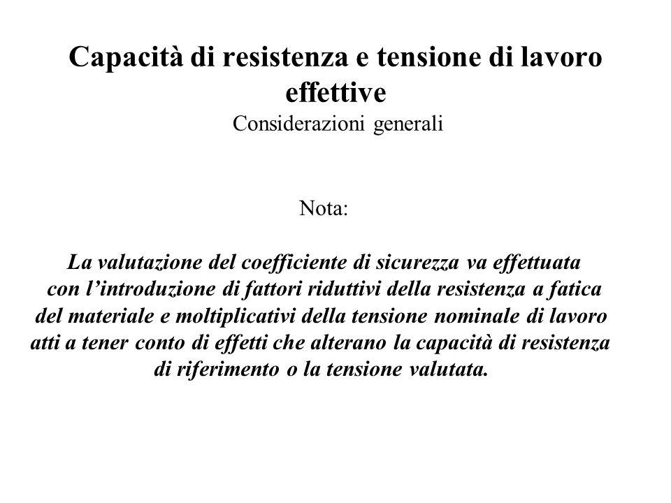 Capacità di resistenza e tensione di lavoro effettive Considerazioni generali