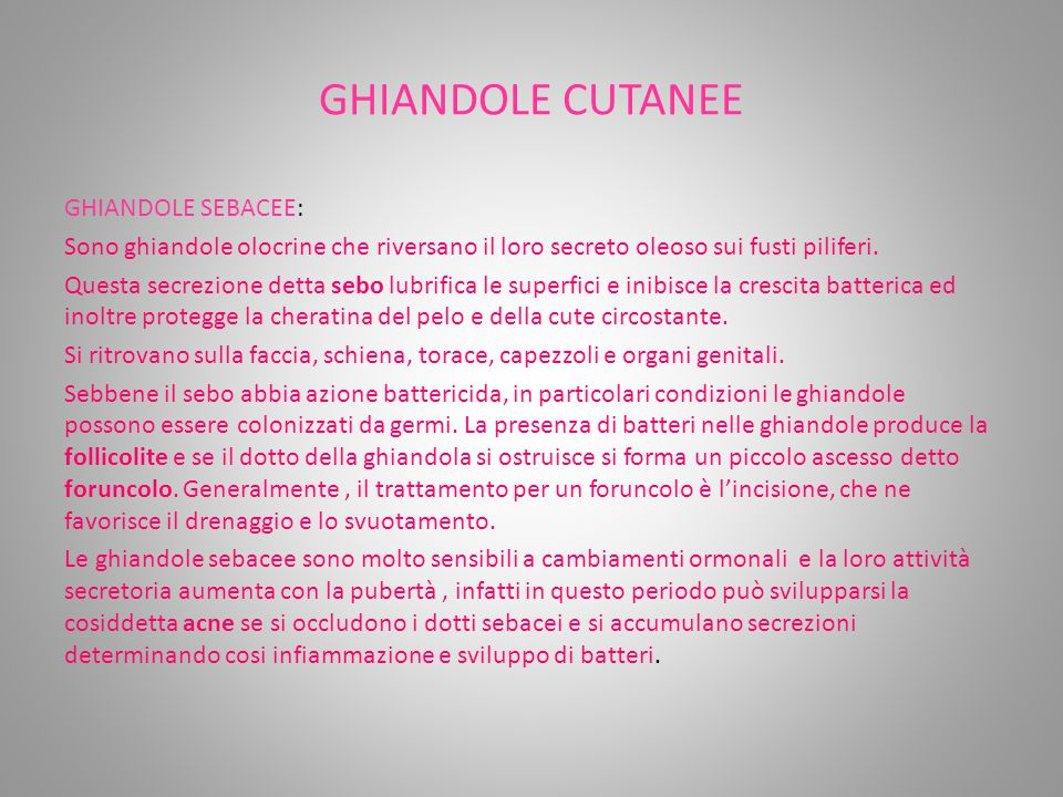 GHIANDOLE CUTANEE