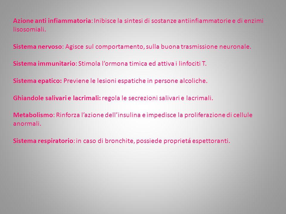 Azione anti infiammatoria: Inibisce la sintesi di sostanze antiinfiammatorie e di enzimi lisosomiali.