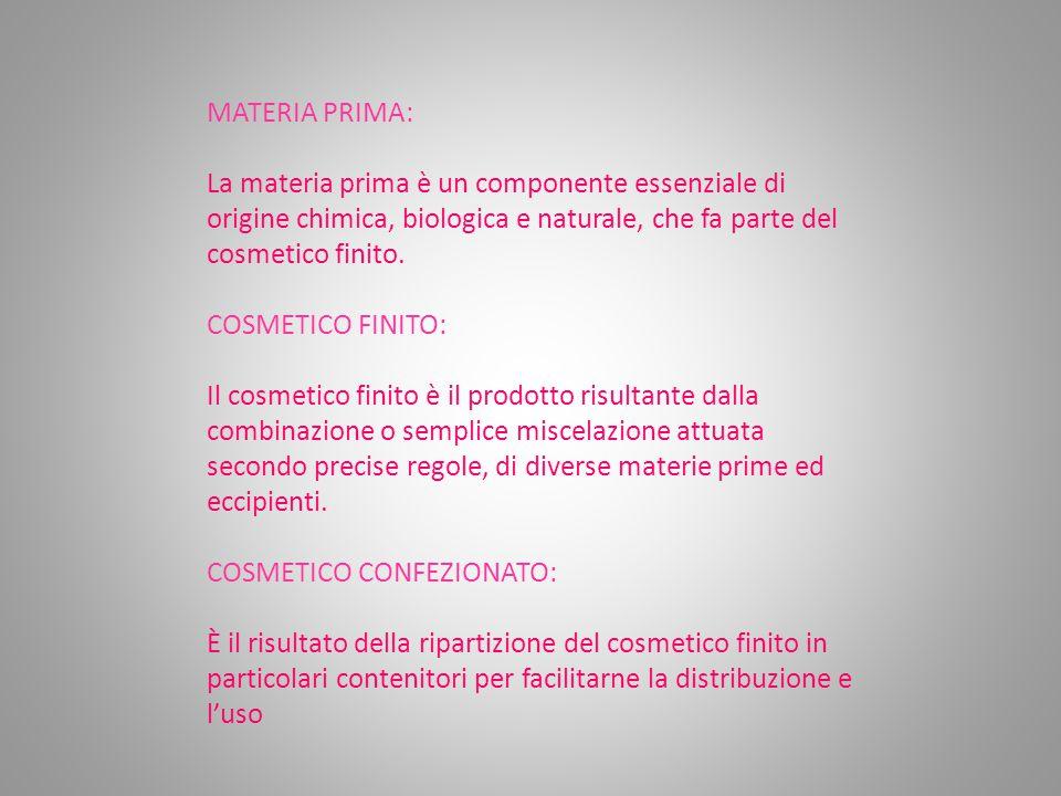 MATERIA PRIMA: La materia prima è un componente essenziale di origine chimica, biologica e naturale, che fa parte del cosmetico finito.