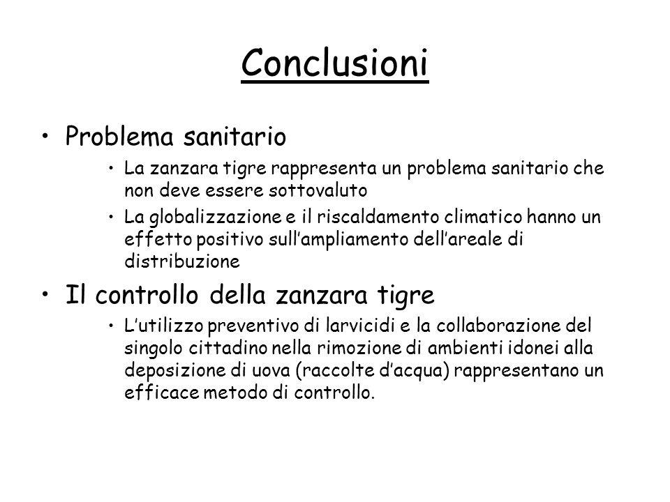 Conclusioni Problema sanitario Il controllo della zanzara tigre