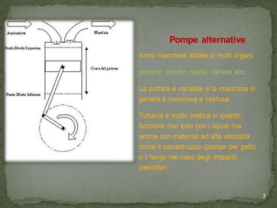 Pompe alternative Sono macchine dotate di molti organi: