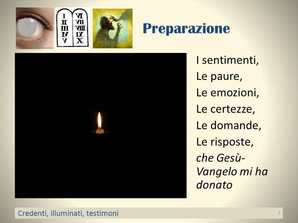 Preparazione I sentimenti, Le paure, Le emozioni, Le certezze, Le domande, Le risposte, che Gesù-Vangelo mi ha donato