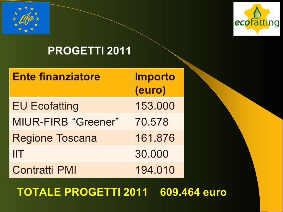 PROGETTI 2011 Ente finanziatore. Importo (euro) EU Ecofatting. 153.000. MIUR-FIRB Greener 70.578.