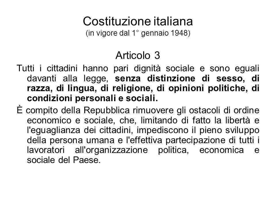 Costituzione italiana (in vigore dal 1° gennaio 1948)