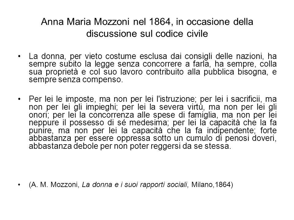 Anna Maria Mozzoni nel 1864, in occasione della discussione sul codice civile