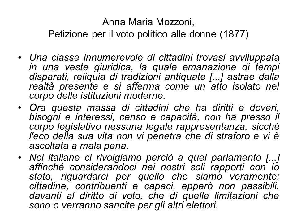 Anna Maria Mozzoni, Petizione per il voto politico alle donne (1877)