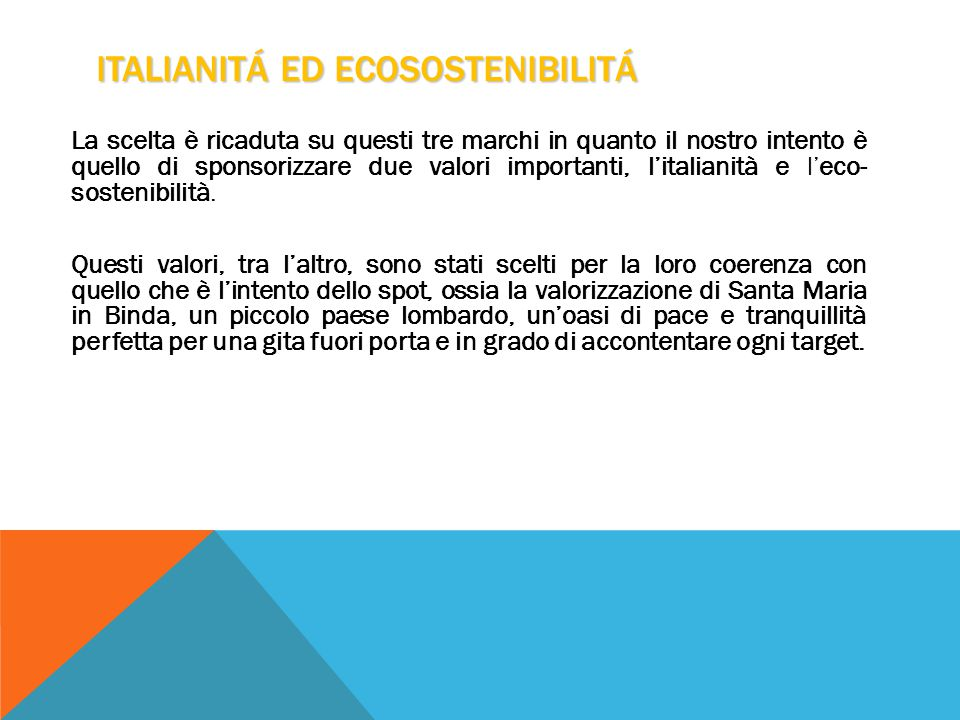 ITALIANITÁ ED ECOSOSTENIBILITÁ