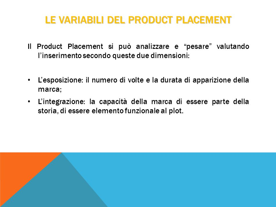LE VARIABILI DEL PRODUCT PLACEMENT