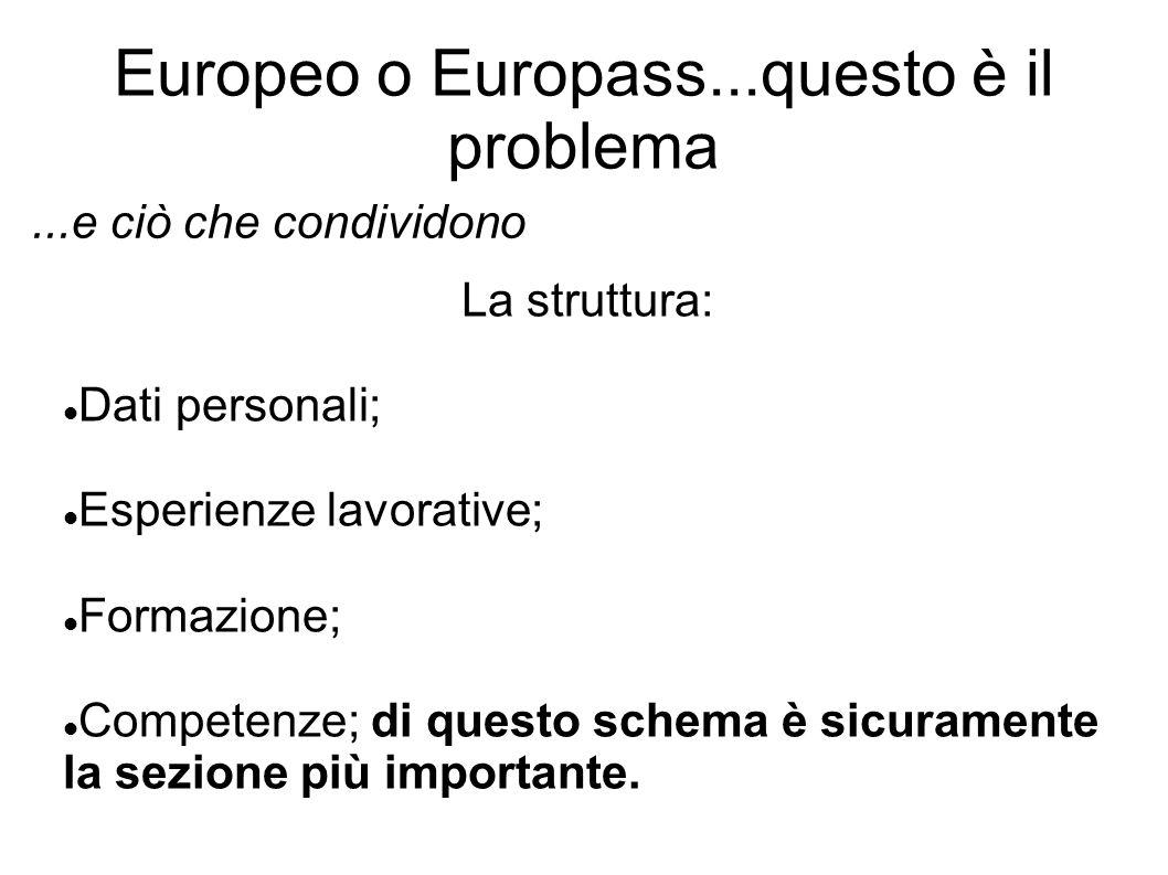Europeo o Europass...questo è il problema