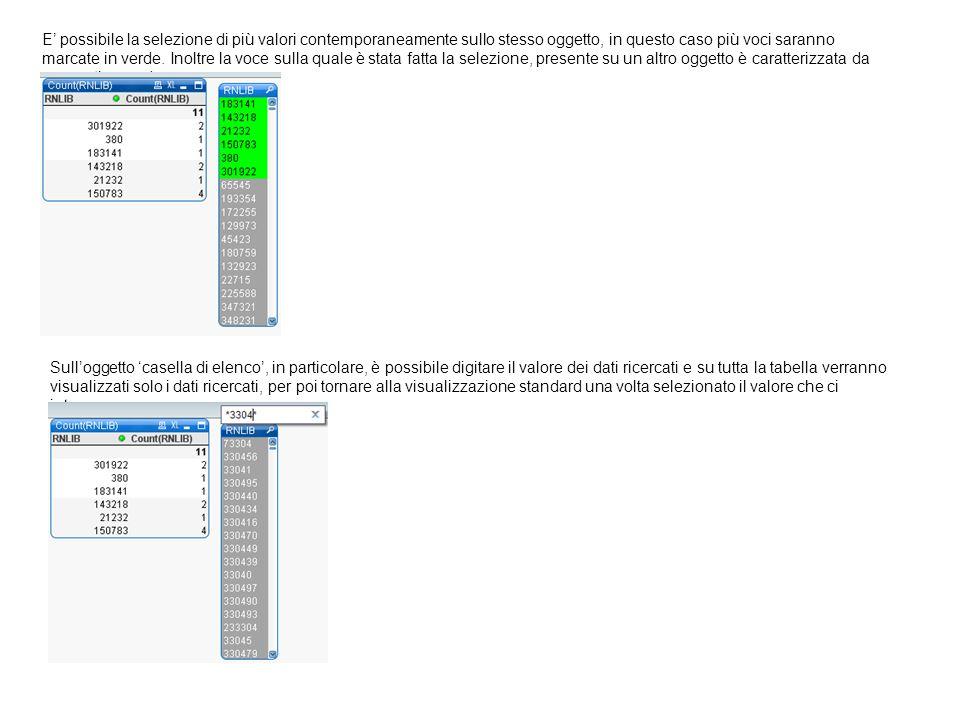 E' possibile la selezione di più valori contemporaneamente sullo stesso oggetto, in questo caso più voci saranno marcate in verde. Inoltre la voce sulla quale è stata fatta la selezione, presente su un altro oggetto è caratterizzata da un puntino verde.