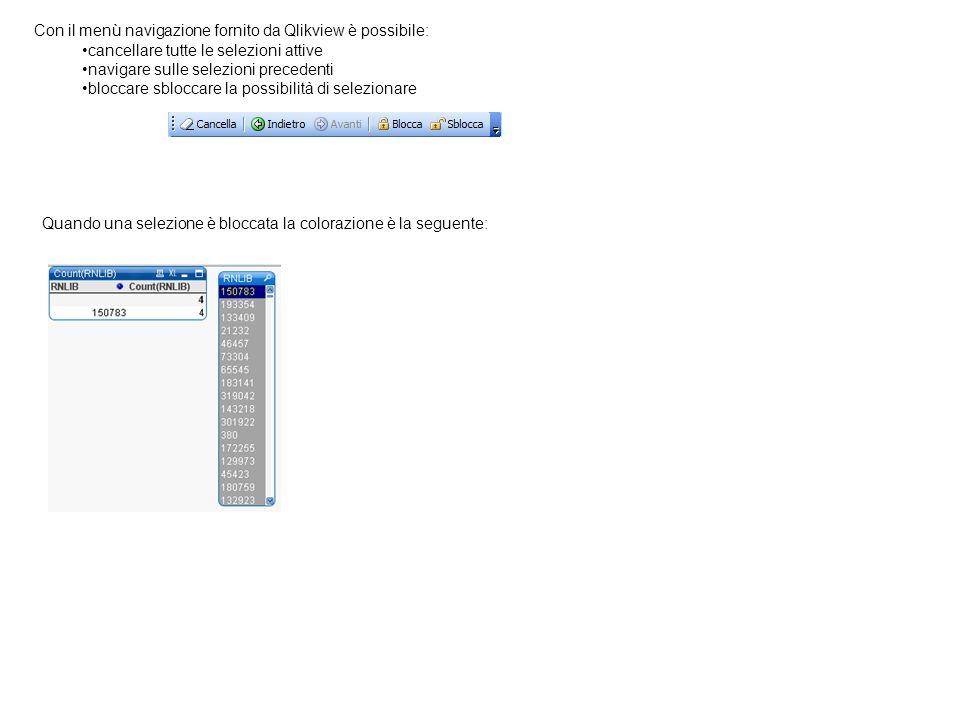 Con il menù navigazione fornito da Qlikview è possibile: