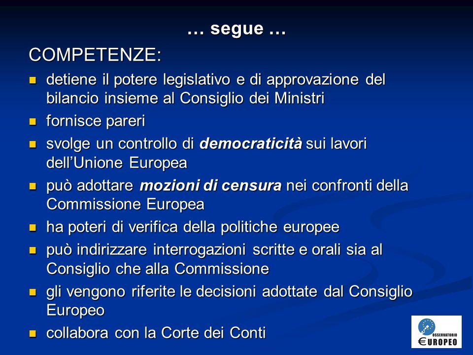 … segue … COMPETENZE: detiene il potere legislativo e di approvazione del bilancio insieme al Consiglio dei Ministri.