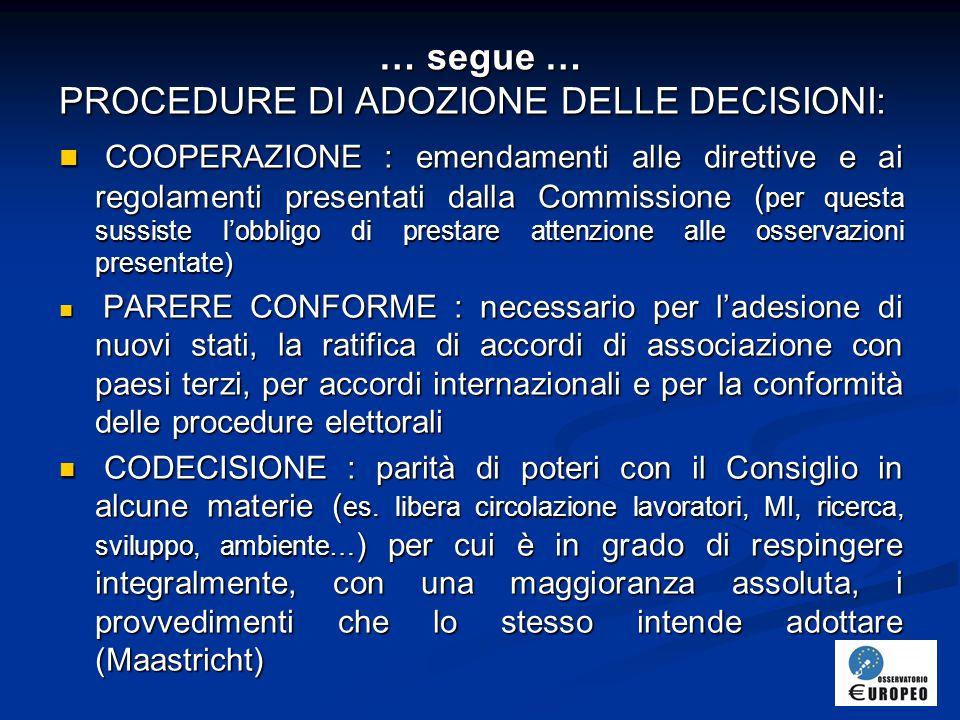 PROCEDURE DI ADOZIONE DELLE DECISIONI: