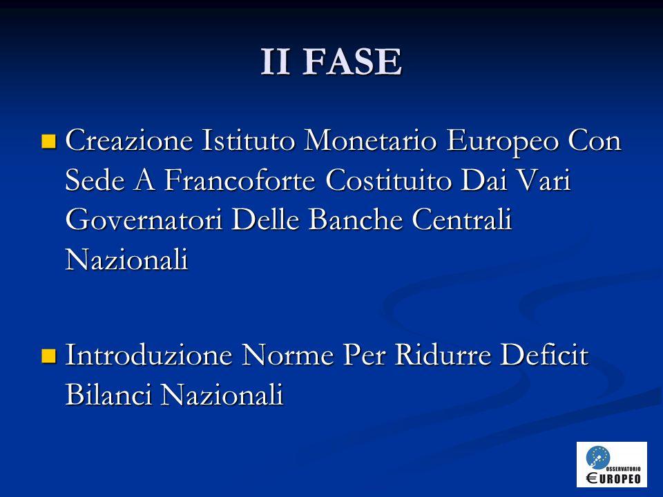II FASE Creazione Istituto Monetario Europeo Con Sede A Francoforte Costituito Dai Vari Governatori Delle Banche Centrali Nazionali.