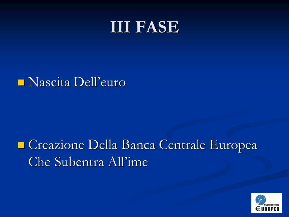 III FASE Nascita Dell'euro