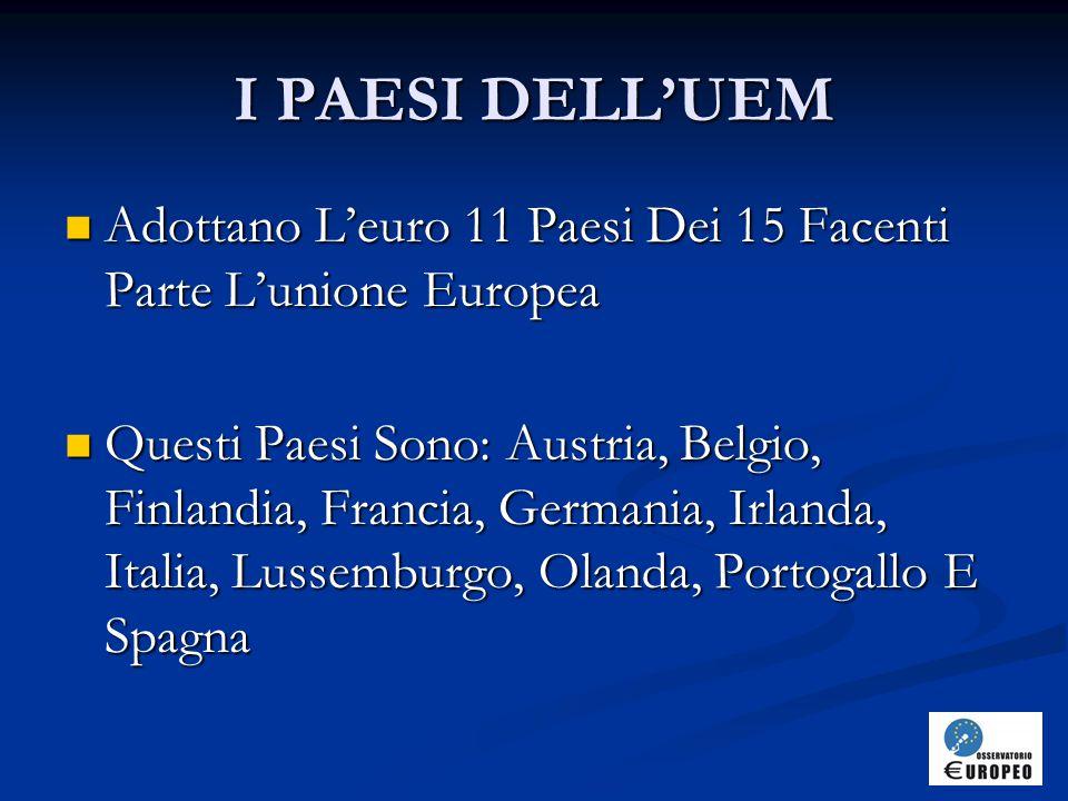 I PAESI DELL'UEM Adottano L'euro 11 Paesi Dei 15 Facenti Parte L'unione Europea.