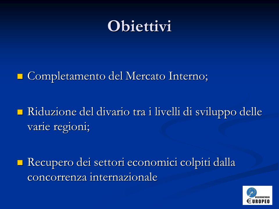 Obiettivi Completamento del Mercato Interno;