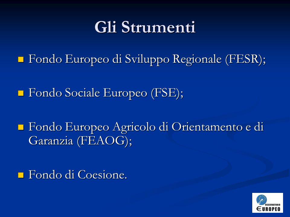 Gli Strumenti Fondo Europeo di Sviluppo Regionale (FESR);