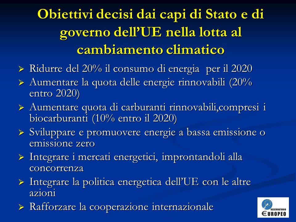 Obiettivi decisi dai capi di Stato e di governo dell'UE nella lotta al cambiamento climatico