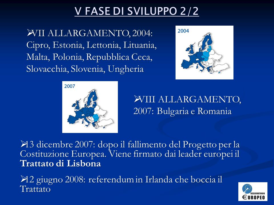 V FASE DI SVILUPPO 2/2 VII ALLARGAMENTO, 2004: Cipro, Estonia, Lettonia, Lituania, Malta, Polonia, Repubblica Ceca, Slovacchia, Slovenia, Ungheria.