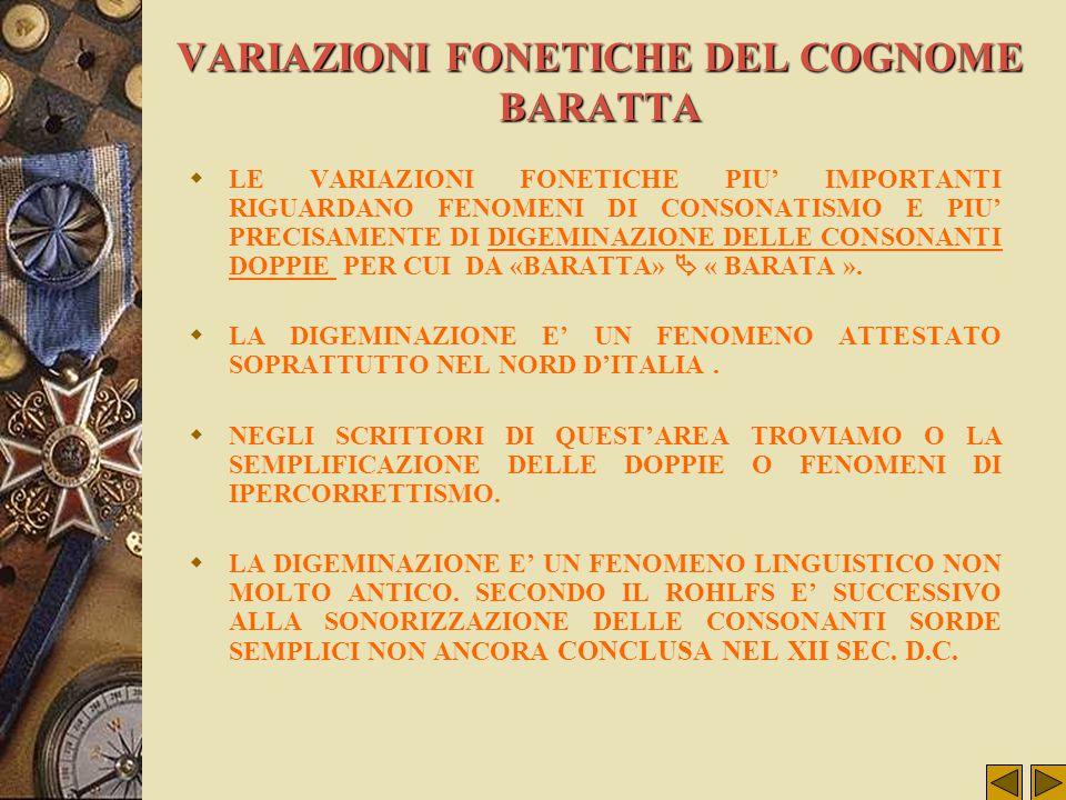VARIAZIONI FONETICHE DEL COGNOME BARATTA