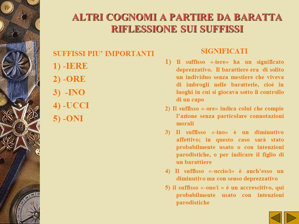 ALTRI COGNOMI A PARTIRE DA BARATTA RIFLESSIONE SUI SUFFISSI