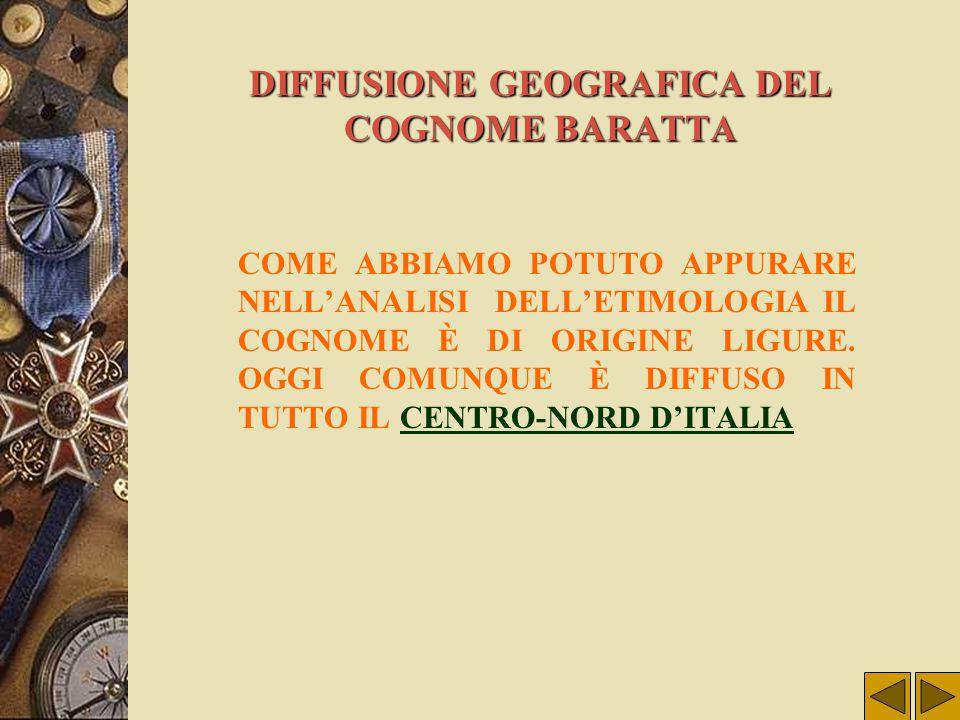 DIFFUSIONE GEOGRAFICA DEL COGNOME BARATTA