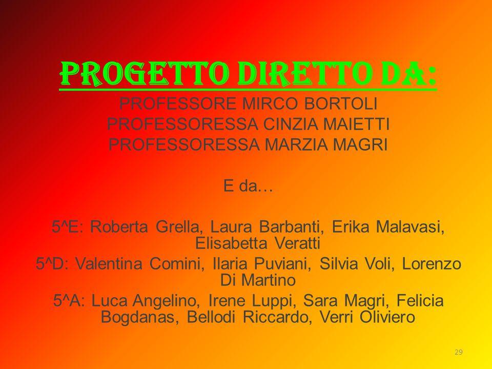 PROGETTO DIRETTO DA: PROFESSORE MIRCO BORTOLI