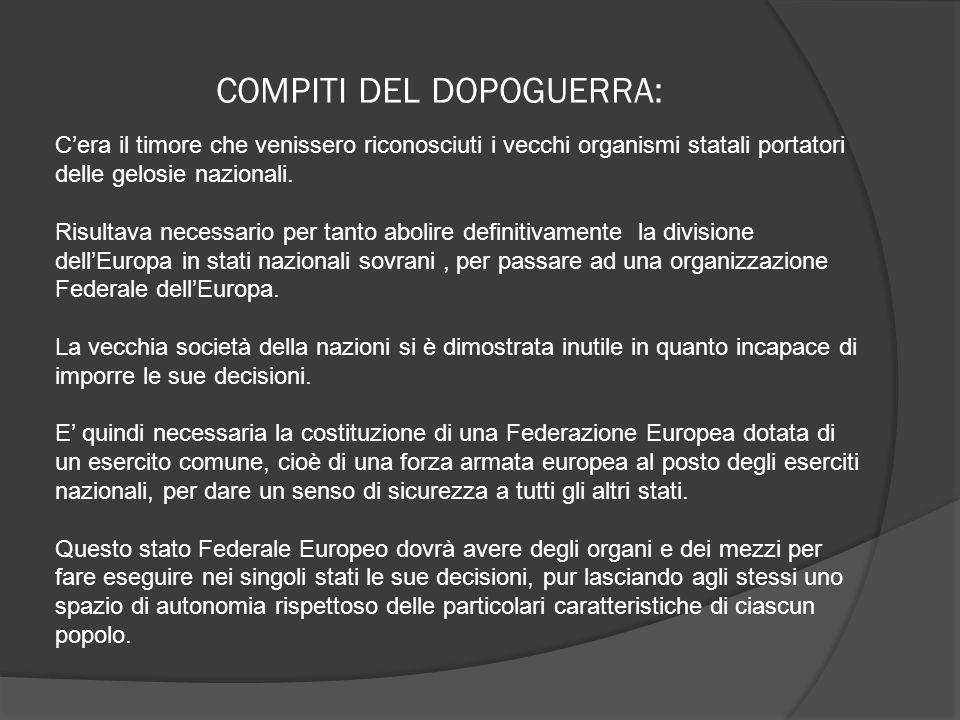 COMPITI DEL DOPOGUERRA: