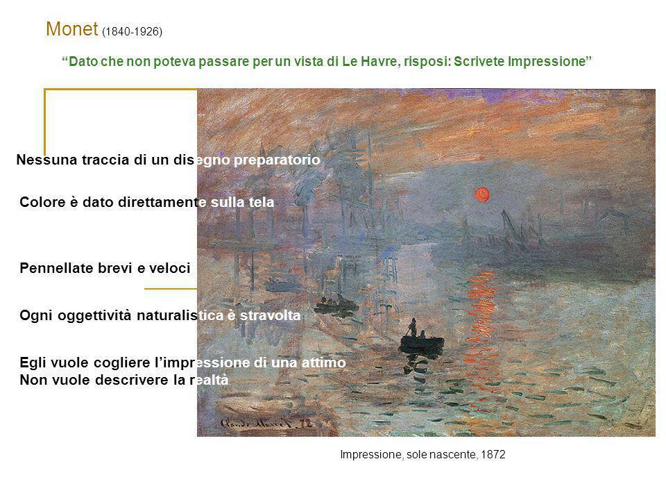 Monet (1840-1926) Nessuna traccia di un disegno preparatorio