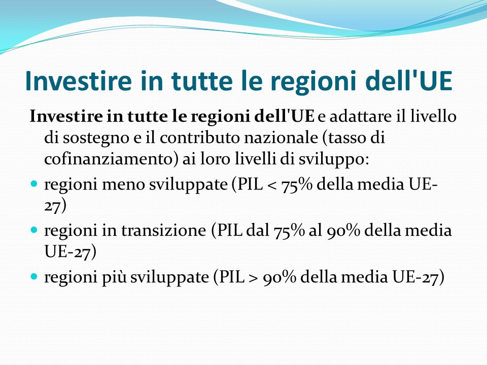 Investire in tutte le regioni dell UE