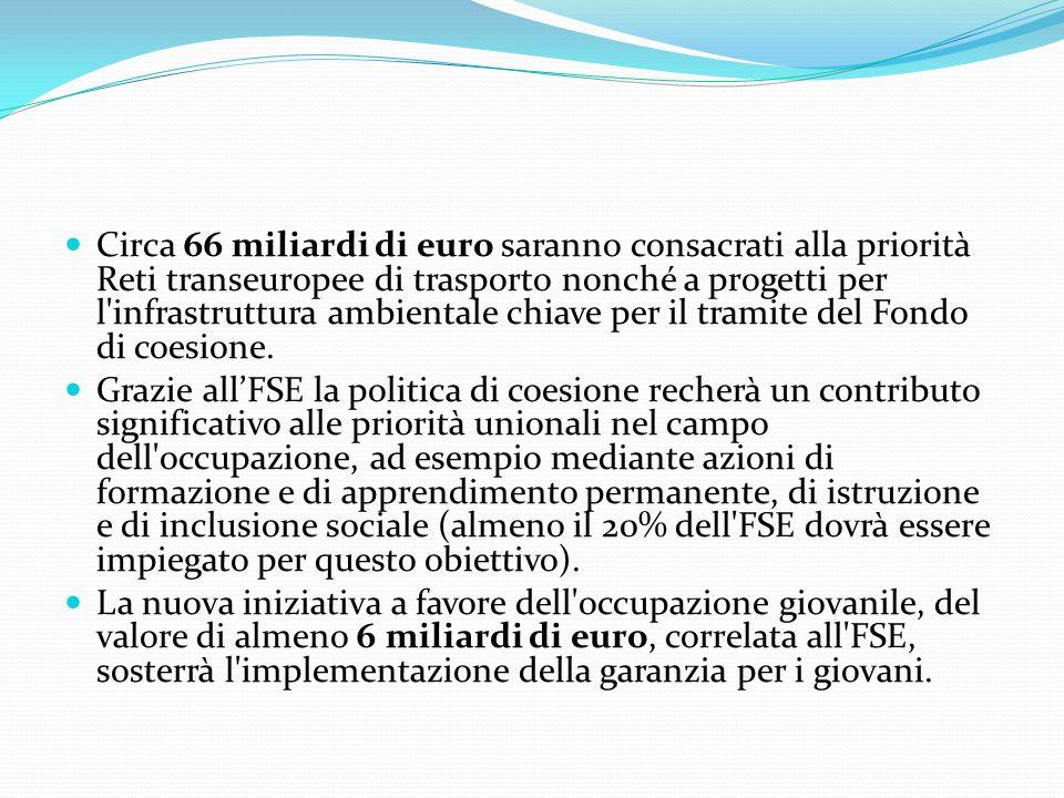 Circa 66 miliardi di euro saranno consacrati alla priorità Reti transeuropee di trasporto nonché a progetti per l infrastruttura ambientale chiave per il tramite del Fondo di coesione.