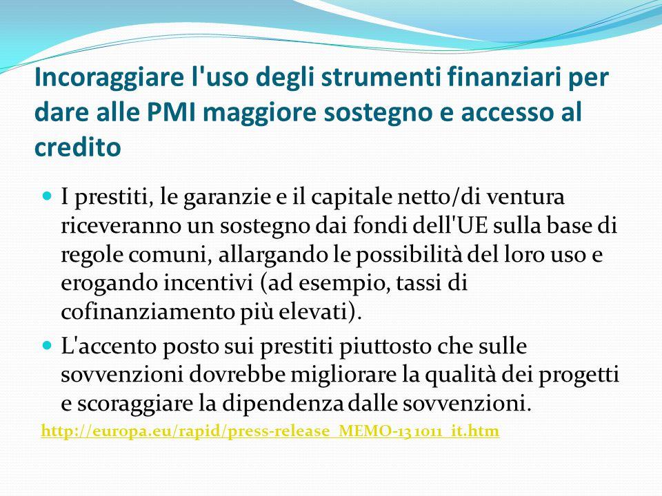 Incoraggiare l uso degli strumenti finanziari per dare alle PMI maggiore sostegno e accesso al credito
