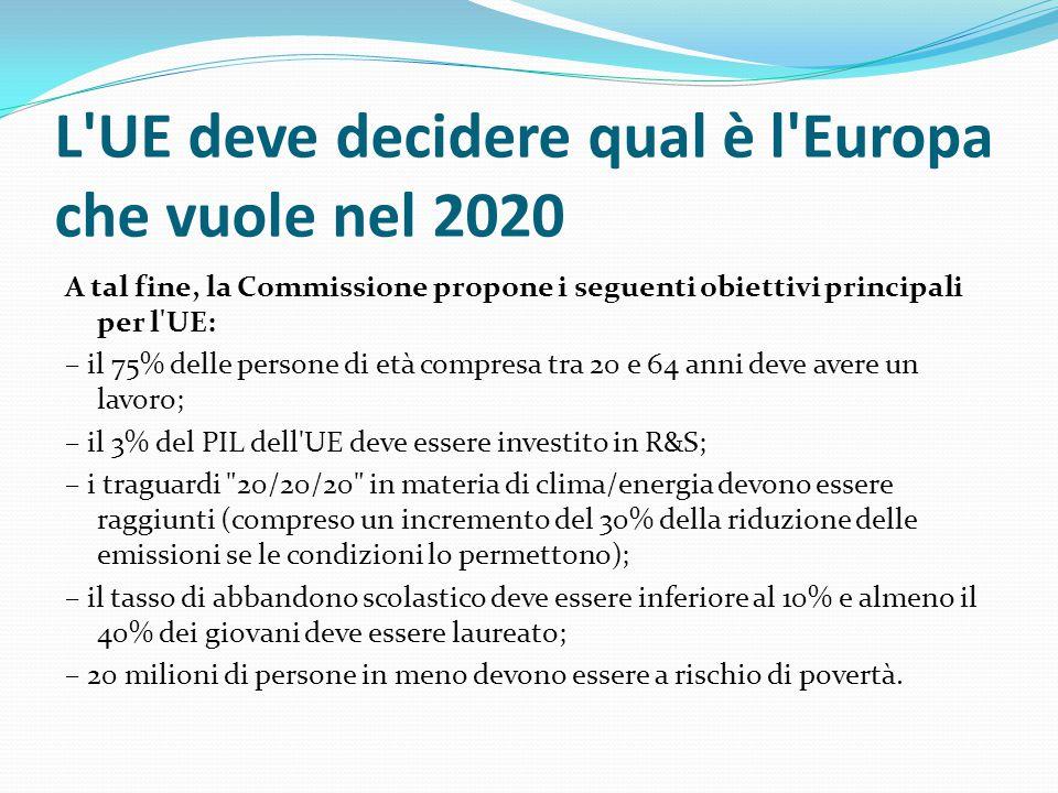 L UE deve decidere qual è l Europa che vuole nel 2020