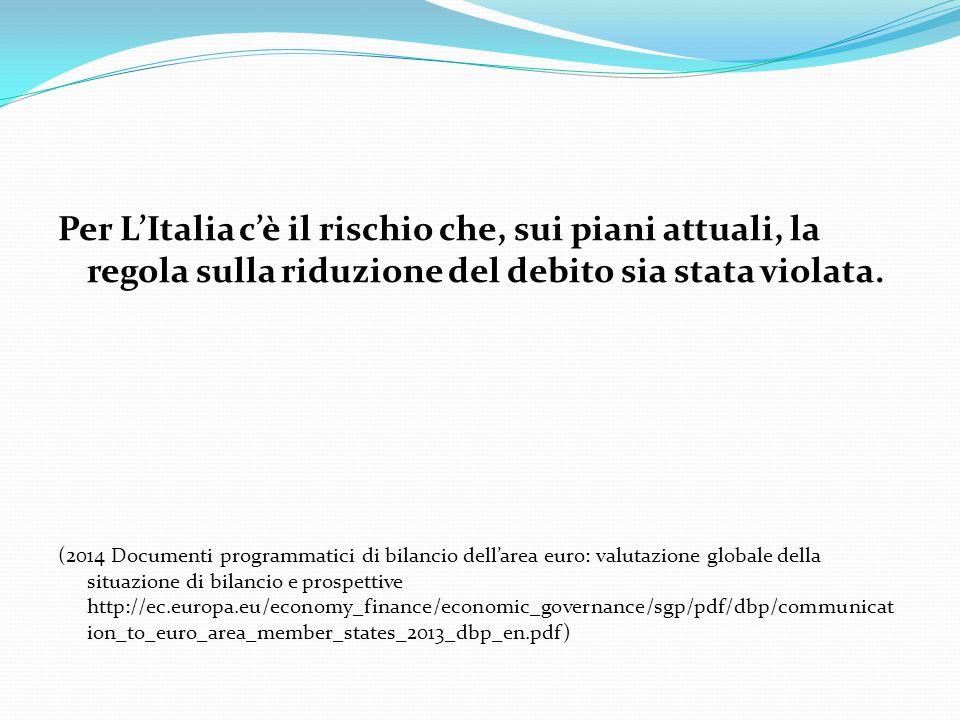 Per L'Italia c'è il rischio che, sui piani attuali, la regola sulla riduzione del debito sia stata violata.