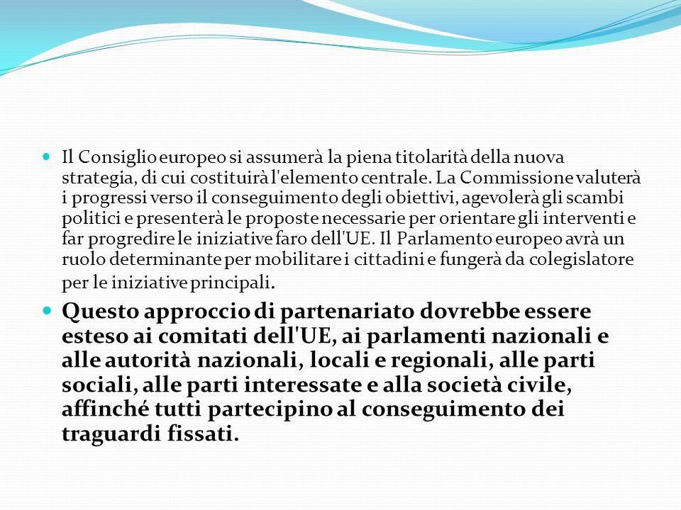 Il Consiglio europeo si assumerà la piena titolarità della nuova strategia, di cui costituirà l elemento centrale. La Commissione valuterà i progressi verso il conseguimento degli obiettivi, agevolerà gli scambi politici e presenterà le proposte necessarie per orientare gli interventi e far progredire le iniziative faro dell UE. Il Parlamento europeo avrà un ruolo determinante per mobilitare i cittadini e fungerà da colegislatore per le iniziative principali.