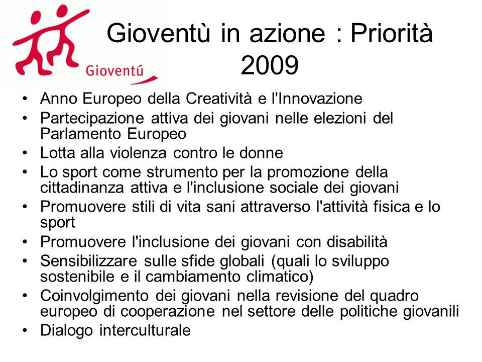 Gioventù in azione : Priorità 2009