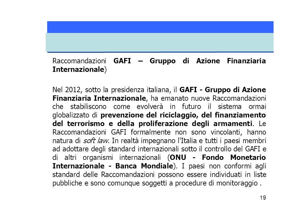 Raccomandazioni GAFI – Gruppo di Azione Finanziaria Internazionale)
