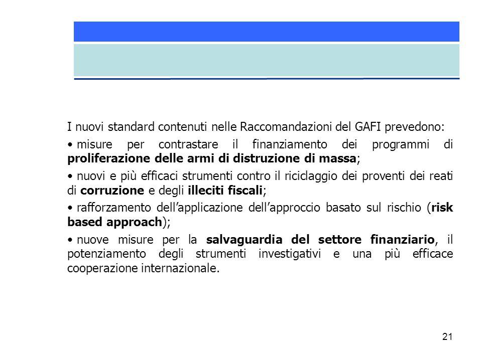 I nuovi standard contenuti nelle Raccomandazioni del GAFI prevedono: