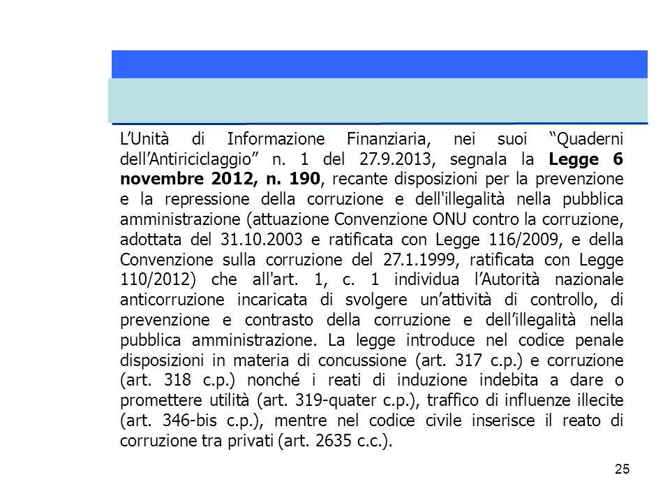 L'Unità di Informazione Finanziaria, nei suoi Quaderni dell'Antiriciclaggio n.