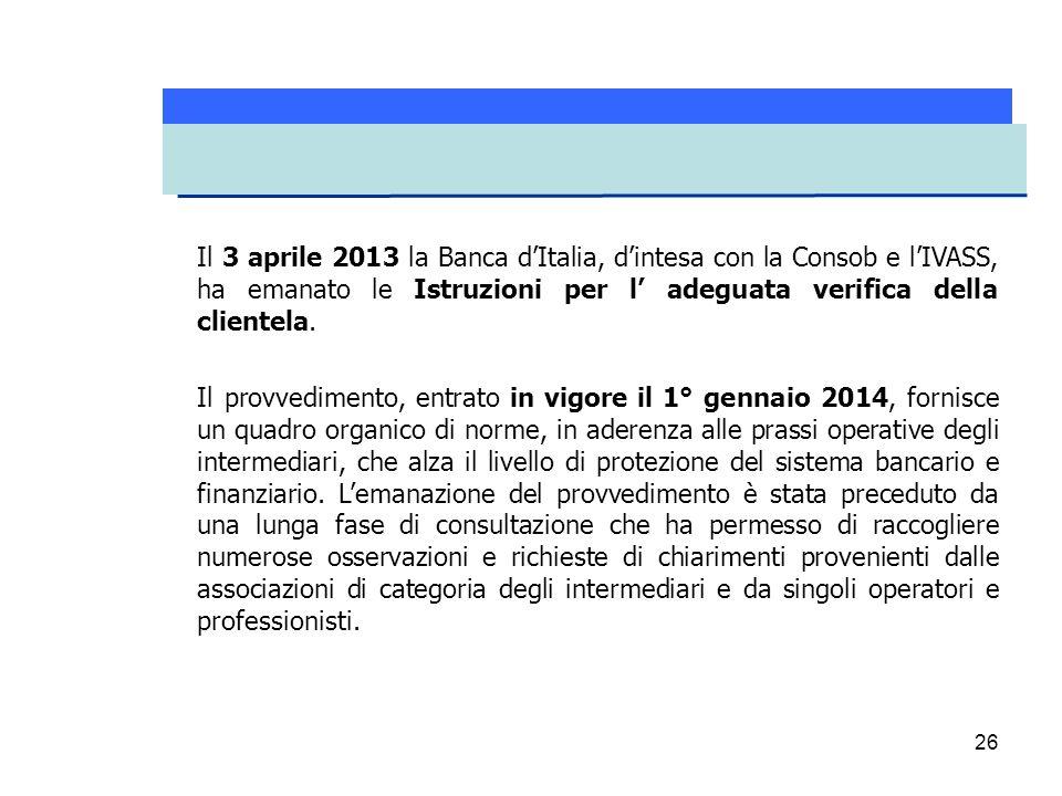 Il 3 aprile 2013 la Banca d'Italia, d'intesa con la Consob e l'IVASS, ha emanato le Istruzioni per l' adeguata verifica della clientela.