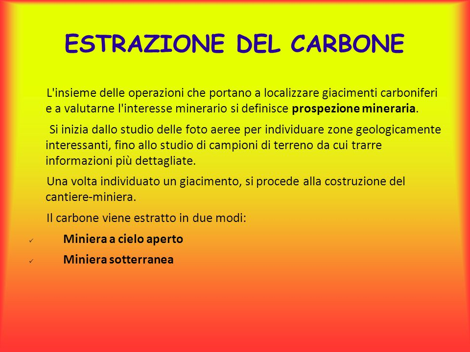 ESTRAZIONE DEL CARBONE