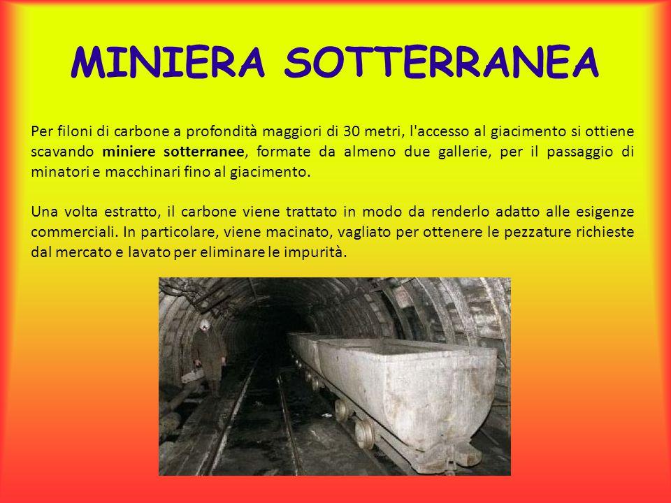 Per filoni di carbone a profondità maggiori di 30 metri, l accesso al giacimento si ottiene scavando miniere sotterranee, formate da almeno due gallerie, per il passaggio di minatori e macchinari fino al giacimento.