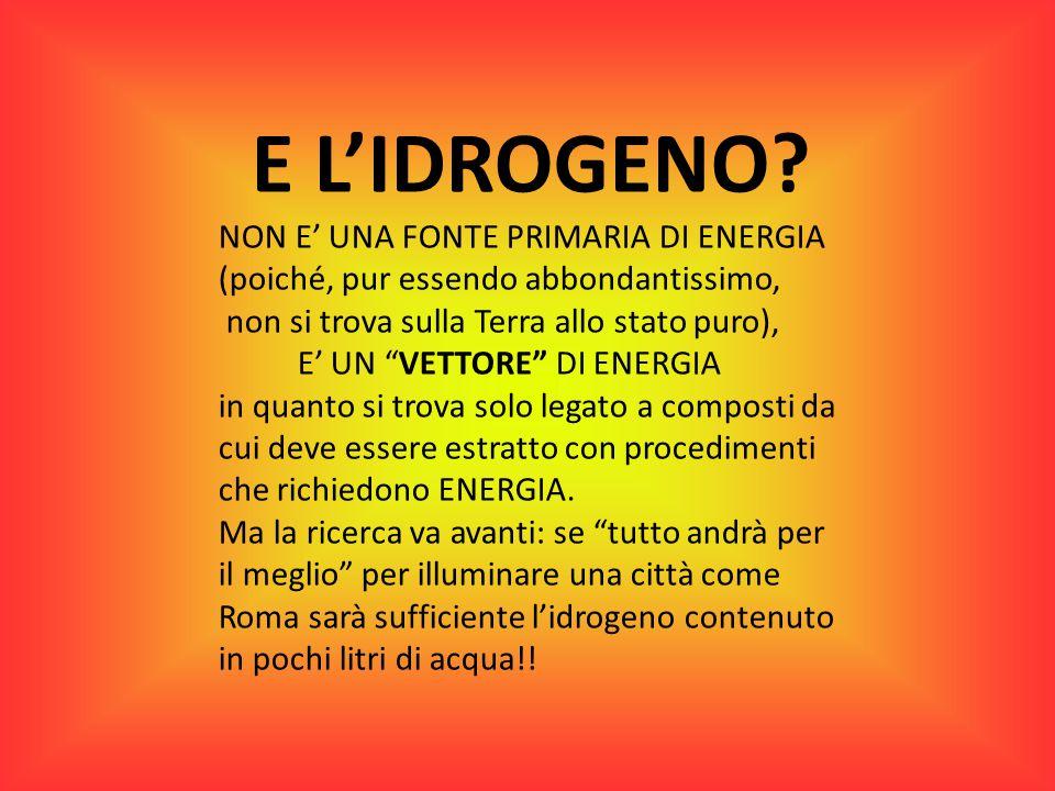 E L'IDROGENO NON E' UNA FONTE PRIMARIA DI ENERGIA (poiché, pur essendo abbondantissimo, non si trova sulla Terra allo stato puro),