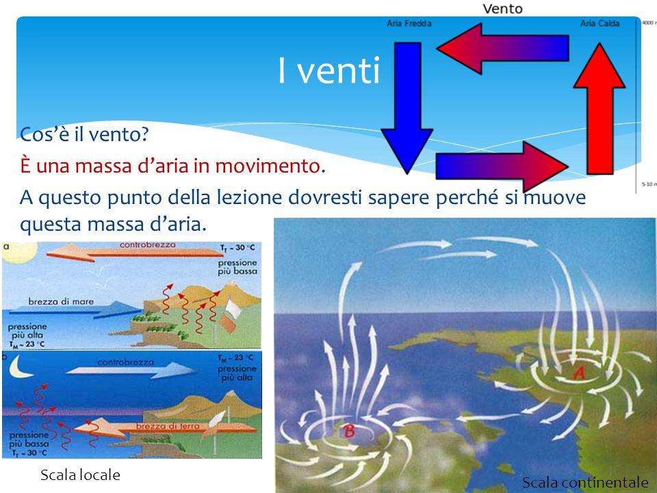 I venti Cos'è il vento È una massa d'aria in movimento. A questo punto della lezione dovresti sapere perché si muove questa massa d'aria.